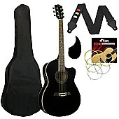 Tiger Electro Acoustic Guitar for Beginners - Black