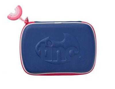 Tinc Contrasting Zip Hardtop Pencil Case - Navy/Pink