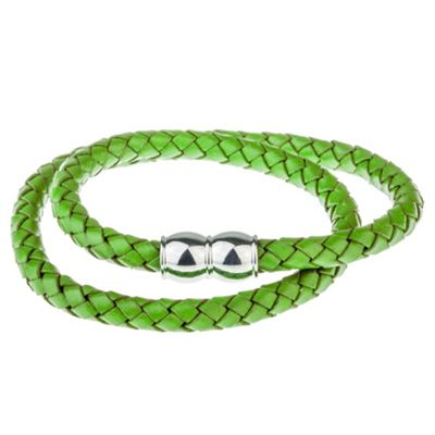 Urban Male Plaited Green Leather Wrap Bracelet for Men