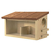 Natural Pinewood Squirrel Feeder with Brown Roof and Two Chambers