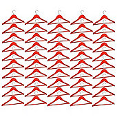 Harbour Housewares Pack of 50 Red Childrens Wooden Clothes / Coat Hangers