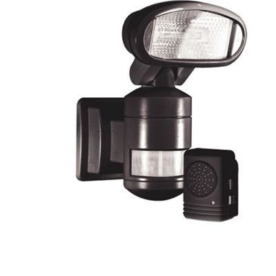 Nightwatcher Security Robotic Security Lamp with Wireless Alarm - Black
