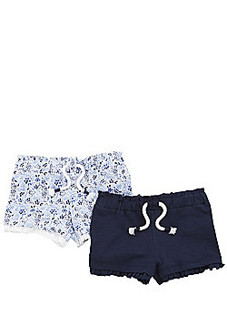 F&F 2 Pack of Ditsy Shorts - Multi
