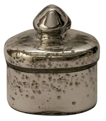 Antiqued Silver Glass Trinket Jar