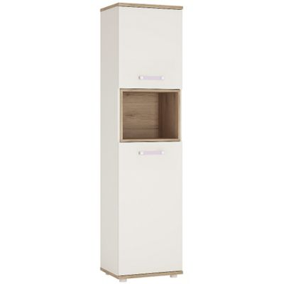 4KIDS Tall 2 door cabinet in light oak and white high gloss with lilac handles