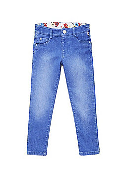 F&F Floral Waistband Skinny Jeans - Blue