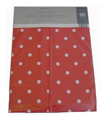 Country Club 132cm x 178cm Rectangle PVC Tablecloth Red & White Spot