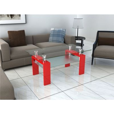 Rectangular Clear & Frosted Glass Coffee Table with Red Legs
