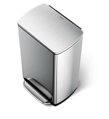 simplehuman 38 Litres Rectangular Pedal Bin with Fingerprint Proof in Brushed Stainless Steel