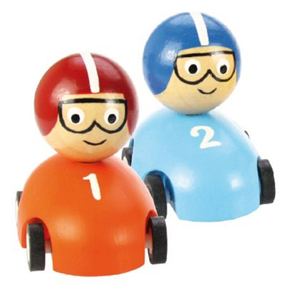Bigjigs Toys Pull Back Racing Car (Pack of 2 - Orange and Blue)
