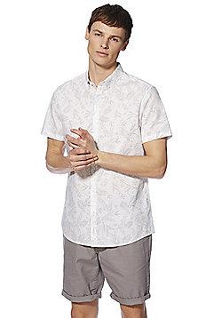 F&F Leaf Print Short Sleeve Shirt - Grey