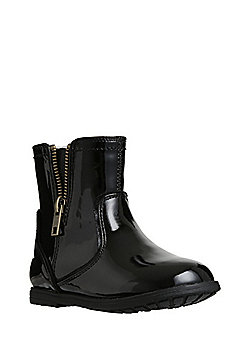 F&F Patent Open Zip Ankle Boots - Black