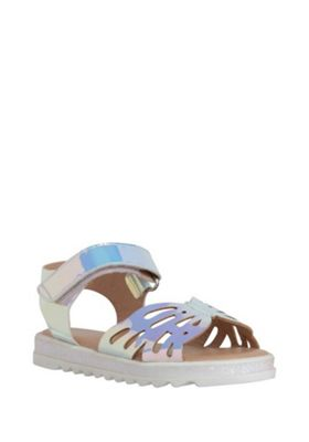 F&F Laser Cut Holographic Sandals Silver/Pink Child 5