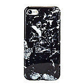 iPhone 7 Marble Stone Effect High Shine Protective Case - Black / White
