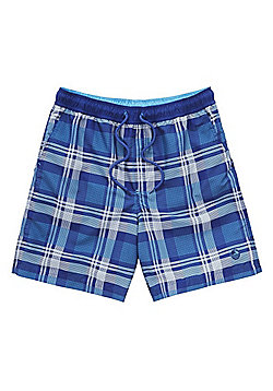 F&F Checked Mid Length Swim Shorts - Blue