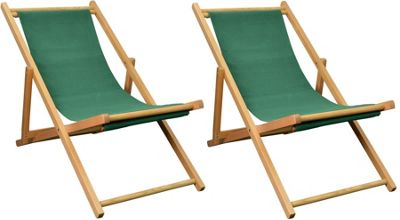 Pack of 2 Harbour Housewares Garden Deck Chairs - 3 Positions - Green