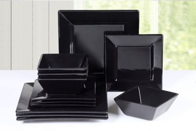 12 Piece Soho Black Square Dinner Set