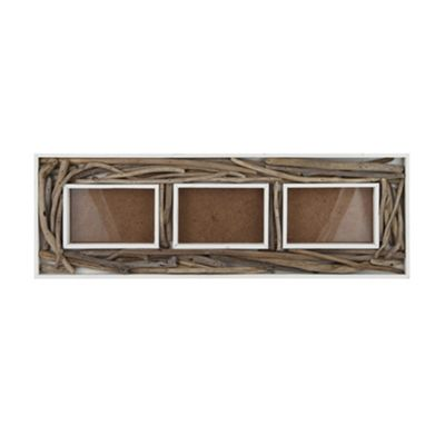 White Wood & Driftwood Wall Hanging 3 Photo Frame