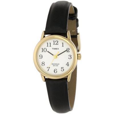 Timex Ladies Watch T2043PF with White Dial and Black Leather Strap