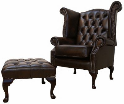 Chesterfield Queen Anne High Back Wing Chair with Footstool Antique Brown Leather
