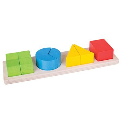 Bigjigs Toys Wooden Shapes Fraction Board - Educational Game ideal for Early Learning