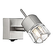 Compact Satin Chrome Switched Wall Light with Ice Cube Shade