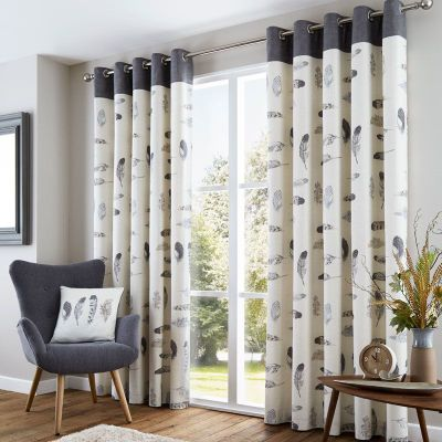 Fusion Idaho Charcoal Eyelet Curtains - 46x54 Inches (117x137cm)