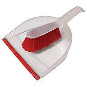 Tesco Basics Dustpan & Brush Red
