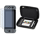 Navitech Grey Rubber Compact Travel Hard Carry Case and Screen Protector For The Nintendo Switch