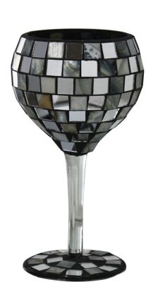 Silver Shell Tile Mosaic Small Goblet Decoration Glass Stem
