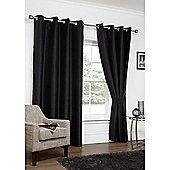 Hamilton McBride Faux Silk Eyelet Blackout Black Curtains - 90x90 Inches (229x229cm)