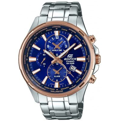 Casio Edifice Men's Two Tone World Time Chrono Bracelet Watch EFR-304PG-2AVUEF