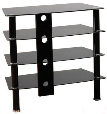Black Glass 4 shelf Hi-Fi Stand with black legs