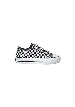 Vans Big School Black/White Small Checkerboard Kids Shoe DWQCK2 - Black