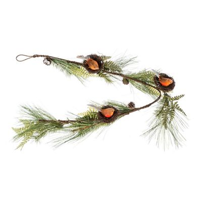 Homescapes Festive Christmas Garland with Artificial Pine and Robins Nests 5ft