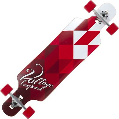 Voltage VOLLB401 Complete Drop Through Longboard - White/Red