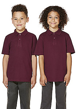 "F&F School 2 Pack of Boys Teflon EcoElite""™ Polo Shirts with As New Technology - Burgundy"