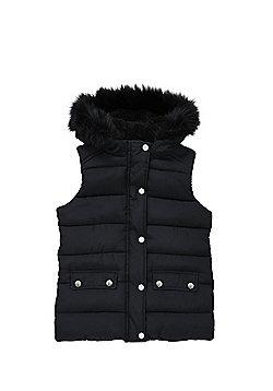 F&F Faux Fur Trim Hooded Padded Gilet - Black