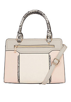 F&F Colour Block Tote Bag Pink Multi One Size