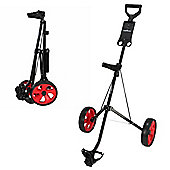Caddymatic I-Trac 2 Wheel Folding Golf Pull / Push Trolley Black/Red