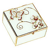 Modern Gold Butterfly Jewellery Trinket Box with White Glass