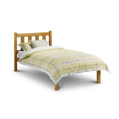 Happy Beds Poppy Wood Low Foot End Bed with Pocket Spring Mattress - Antique Pine - 3ft Single
