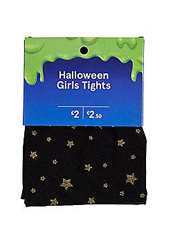 F&F Glitter Star Halloween Tights - Black & Gold