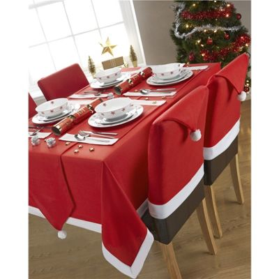 Hamilton McBride Santa's Table Red & White Oblong Tablecloth - 132x178cm (57x70')