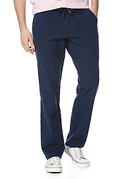 F&F Linen Rich Drawstring Trousers - Navy