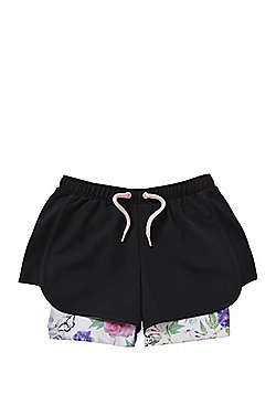 F&F Active Floral Print 2 in 1 Shorts - Black Multi