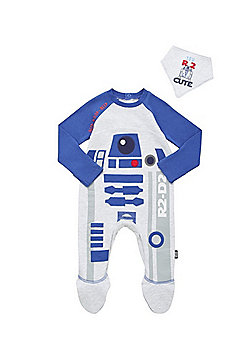 Star Wars R2-D2 All in One and Dribble Bib Set - Grey & Blue