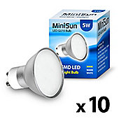 Pack of 10 Minisun GU10 5w 10 SMD LED Bulbs 3000k Frosted Lens