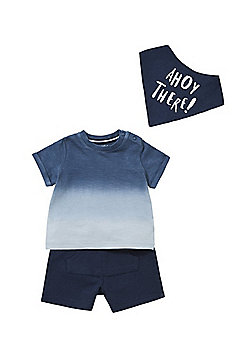 F&F Ahoy There Ombre T-Shirt, Shorts and Bib Set - Navy