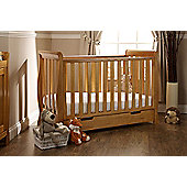 Obaby Lincoln Mini Sleigh Cot Bed & Sprung Mattress - Country Pine